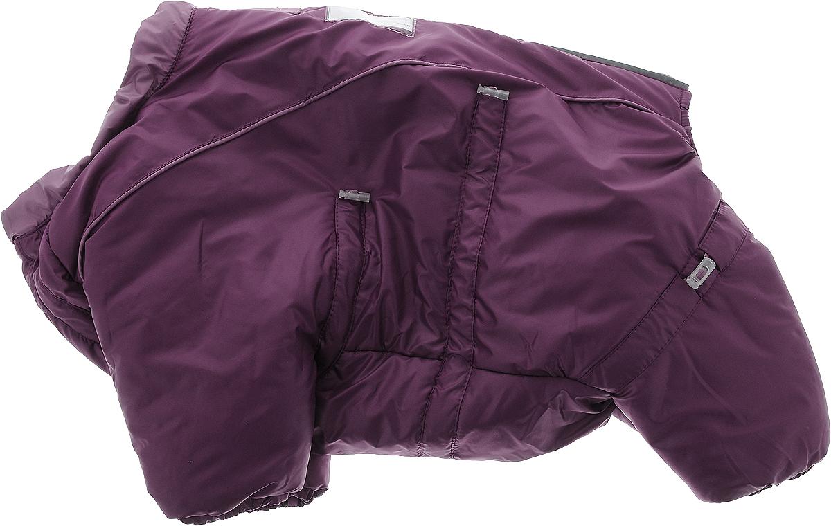 Комбинезон для собак Dogmoda Doggs, зимний, для девочки, цвет: фиолетовый. Размер MDM-140535_фиолетовыйКомбинезон для собак Dogmoda Doggs отлично подойдет для прогулок в зимнее время года. Комбинезон изготовлен из полиэстера, защищающего от ветра и снега, с утеплителем из синтепона, который сохранит тепло даже в сильные морозы. В качестве подкладки используется искусственный мех, обеспечивающий отличный воздухообмен. Комбинезон застегивается на молнию и липучку, благодаря чему его легко надевать и снимать. Молния снабжена светоотражающими элементами. Низ рукавов и брючин оснащен внутренними резинками, которые мягко обхватывают лапки, не позволяя просачиваться холодному воздуху. На вороте, пояснице и лапках комбинезон затягивается на шнурок-кулиску с затяжкой. Модель снабжена непромокаемым карманом для размещения записки с информацией о вашем питомце на случай, если он потеряется. Благодаря такому комбинезону, простуда не грозит вашему питомцу, ведь он не даст любимцу продрогнуть на прогулке.