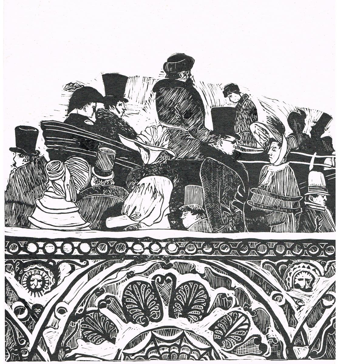 Пушкинский Петербург. Линогравюра. Автор Новоселов. СССР, 1980 гг