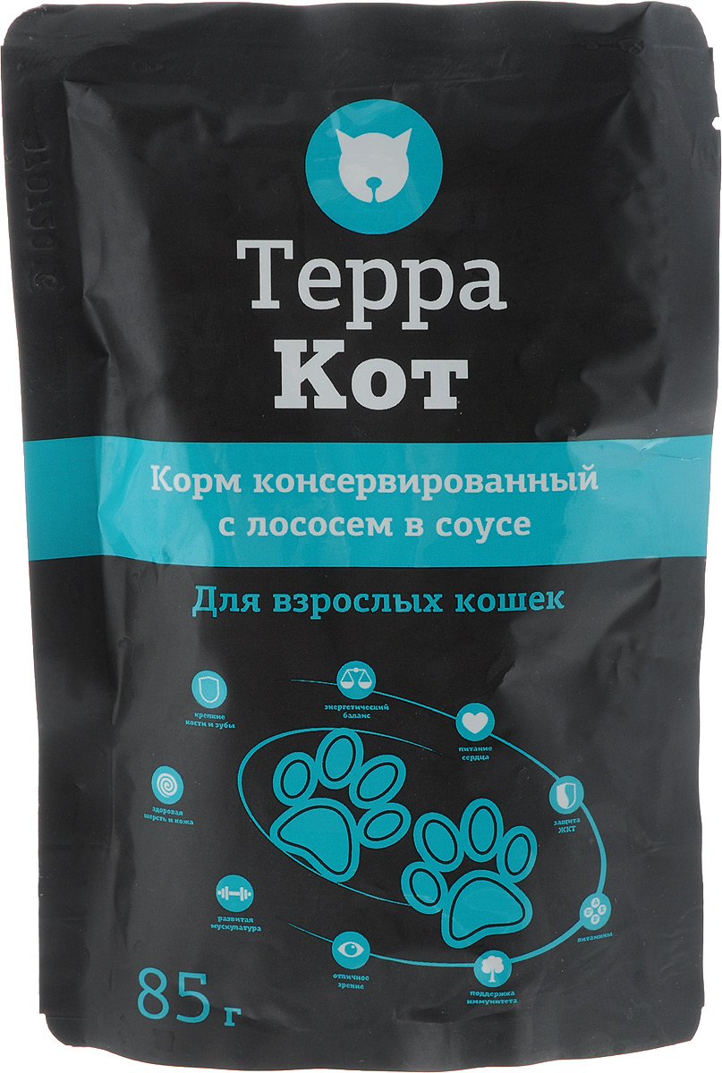 Фото - Консервы Терра Кот для взрослых кошек, с лососем в соусе, 85 г консервы терра кот для взрослых кошек с перепелами и овощами в соусе 85 г