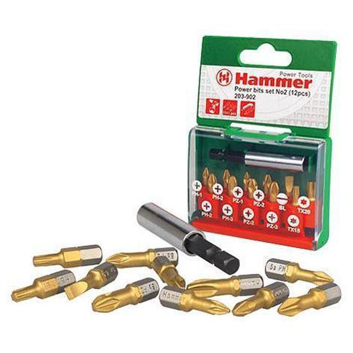 Набор бит Hammer 203-902 PB №2, Ph/Pz/Sl/Tx, 12 шт шурупов��рт hammer acd120gli