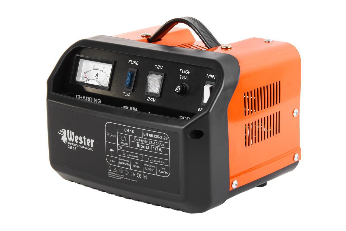 Зарядное устройство Wester CH15 для АКБ, 150 Вт устройство зарядное wester ch15
