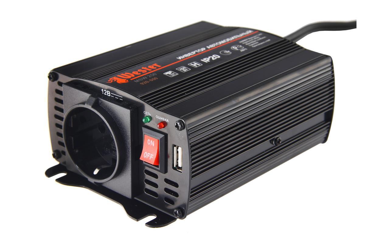 цена на Преобразователь напряжения  Wester MSW250 , инверторный, 12-220 В+USB