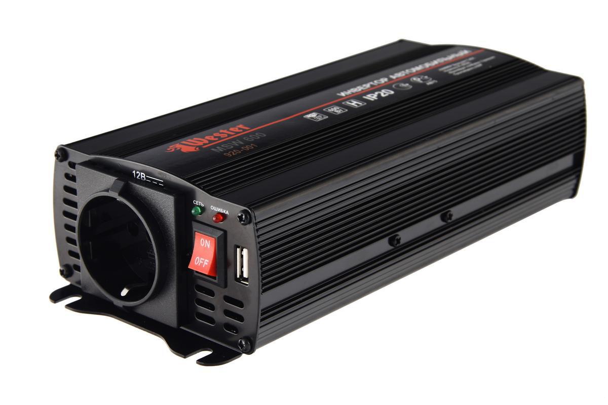 Преобразователь напряжения Wester MSW600, инверторный, 12-220 В+USB автоинвертор wester msw600