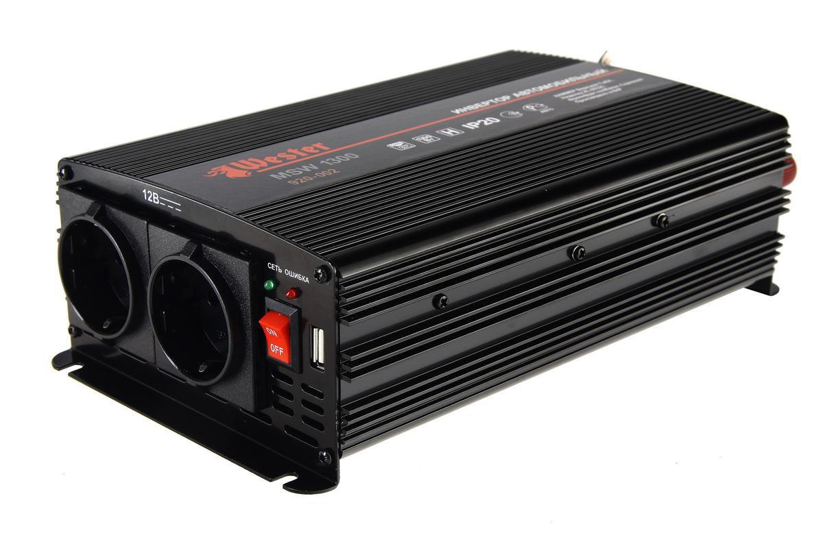 """Преобразователь напряжения """"Wester"""" MSW1300, инверторный, 24-220 В+USB"""