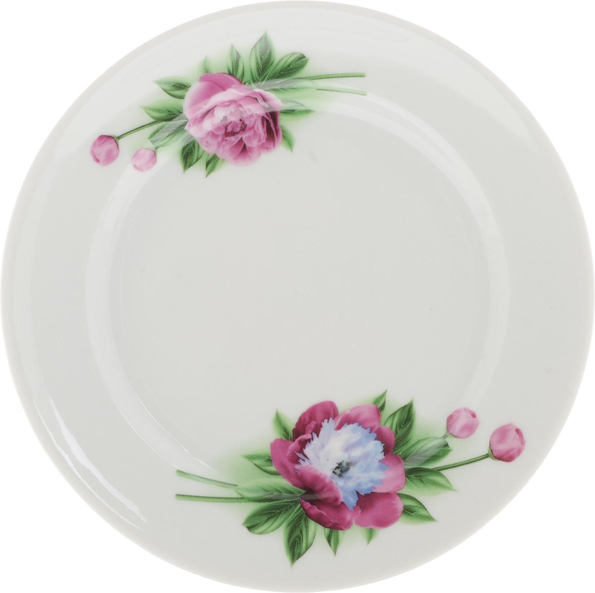 Тарелка Идиллия. Пион, диаметр 17 см набор для супа добрушский фарфор пион 10 пр 2с0150