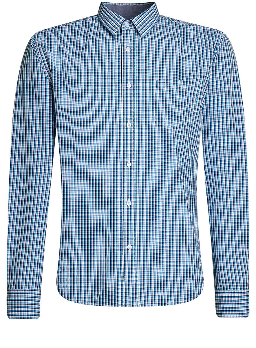 Рубашка oodji Lab рубашка прямая с принтом и длинными рукавами