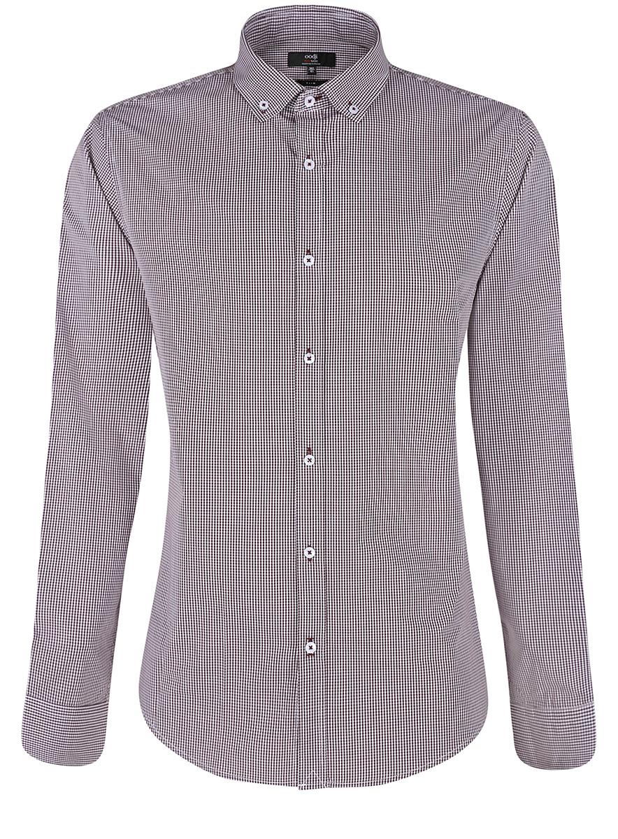 Рубашка oodji Basic рубашка прямая с принтом и длинными рукавами