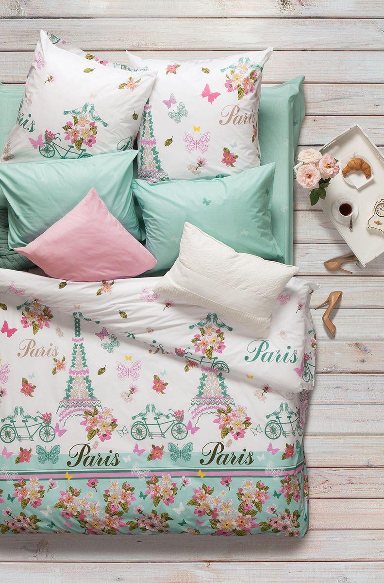 """Комплект белья Sova & Javoronok """"Роз де Пари"""", 1,5-спальный, наволочки 50x70, цвет: белый, зеленый, розовый"""