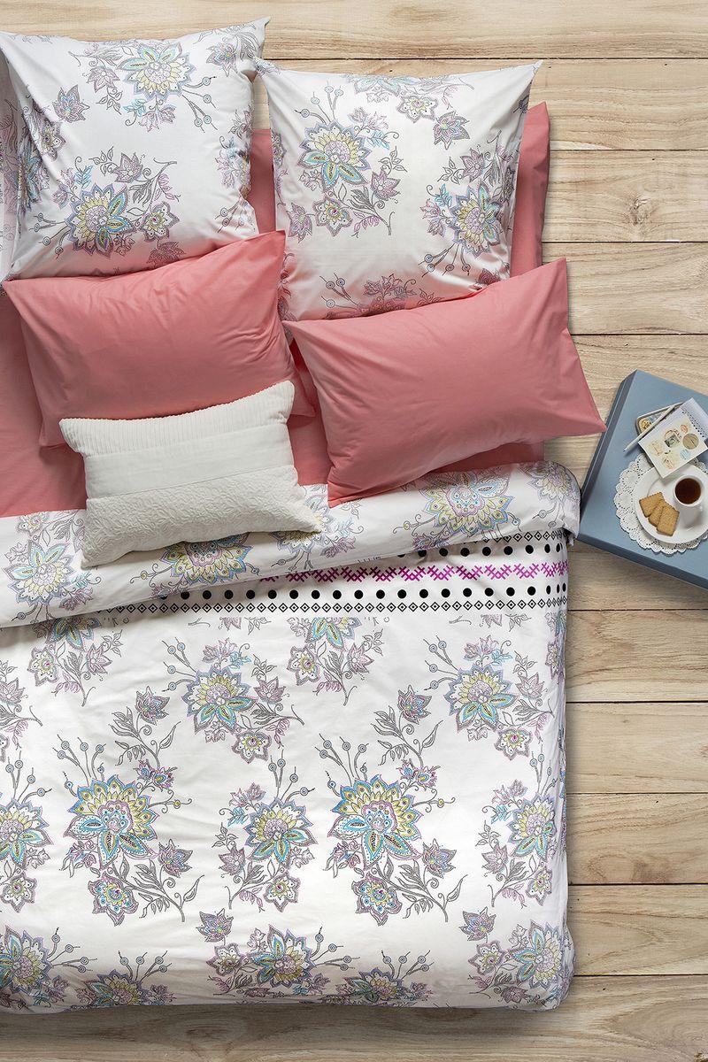 """Комплект белья Sova & Javoronok """"Магнолия"""", 1,5-спальный, наволочки 50x70, цвет: белый, коралловый"""