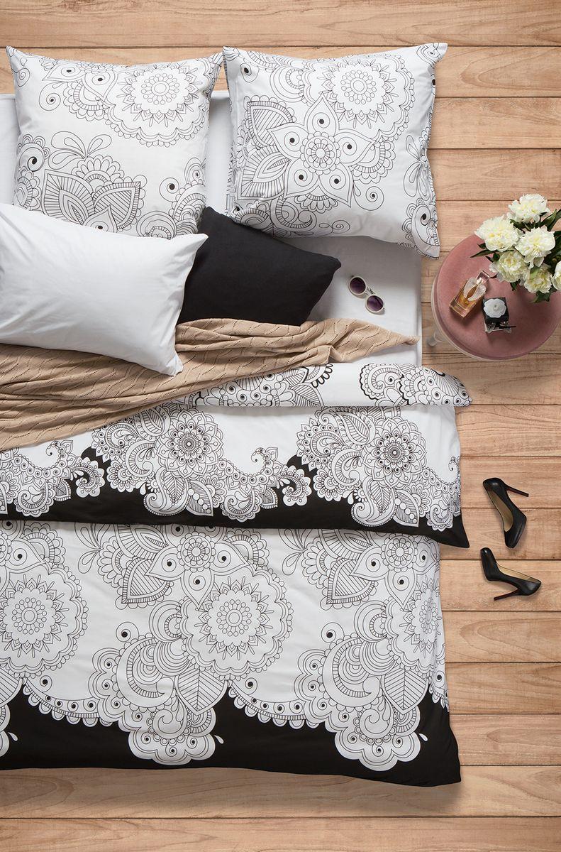 """Комплект белья Sova & Javoronok """"Нероли"""", 1,5-спальный, наволочки 50x70, цвет: белый, черный"""