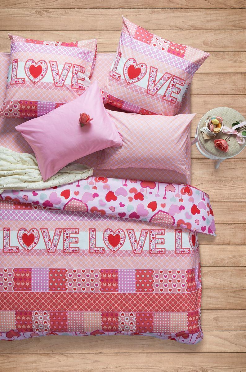 """Комплект белья Sova & Javoronok """"Амарант"""", 1,5-спальный, наволочки 50x70, цвет: белый, красный, розовый"""