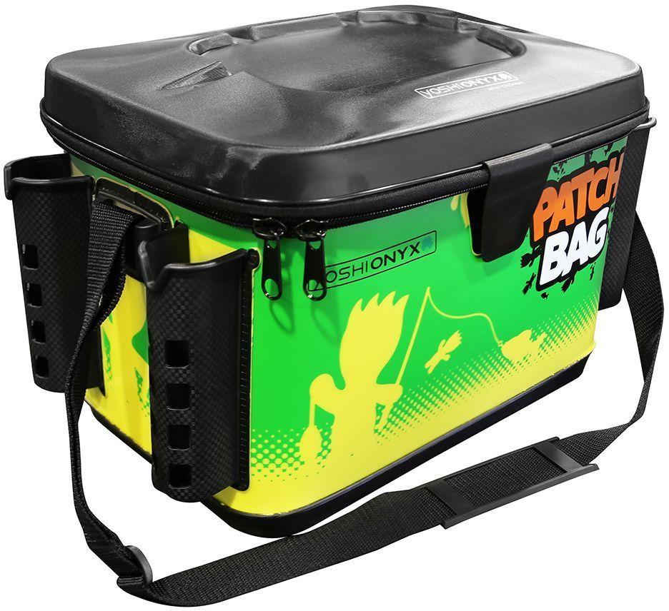 Сумка для снастей Yoshi Onyx Patch Bag, с держателями для спиннингов, цвет: желтый, зеленый, 400 х 260 х 270 мм