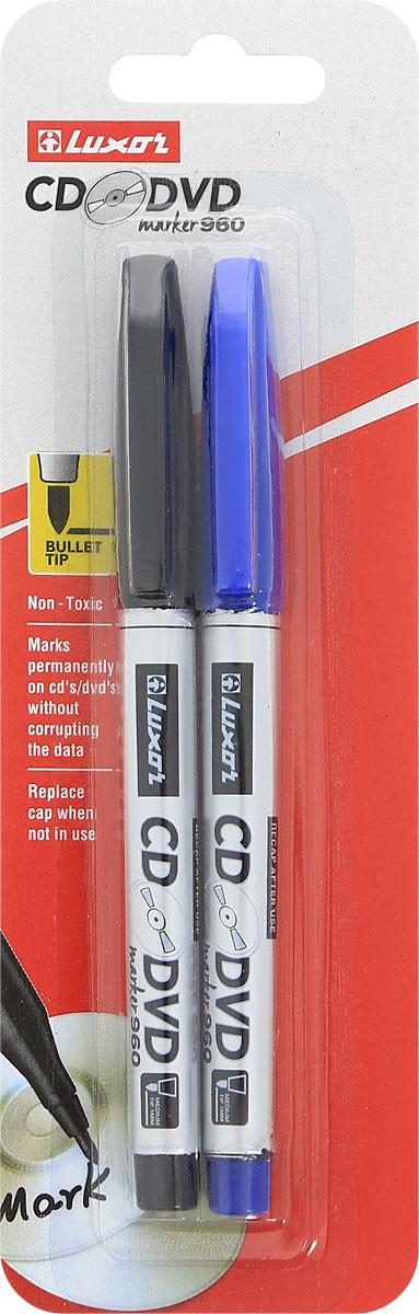 Luxor Набор маркеров CD/DVD цвет синий черный 2 шт цены