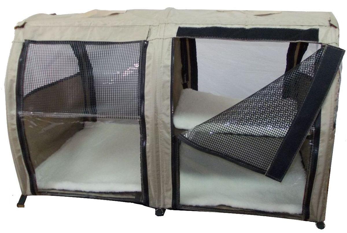 """Клетка-палатка для животных """"Заря-Плюс"""", выставочная, цвет: бежевый, 101 х 58 х 54 см. КВП2"""
