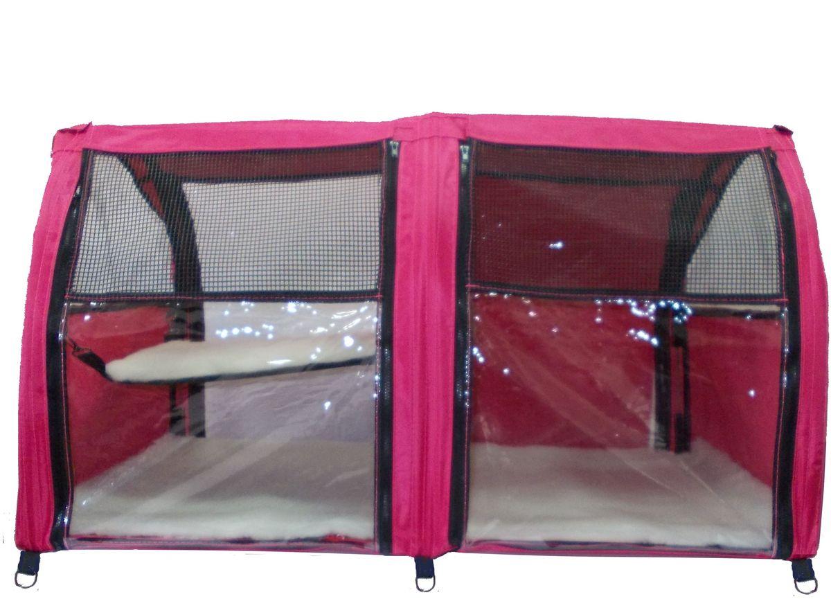 Клетка для животных Заря-Плюс, выставочная, цвет: малиновый, 101 х 58 х 54 см. КВП2 палатка greenell виржиния 6 плюс green