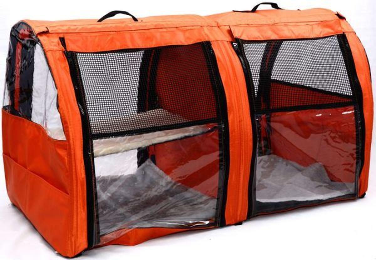 """Клетка для животных """"Заря-Плюс"""", выставочная, цвет: оранжевый, 101 х 58 х 54 см. КВП2"""