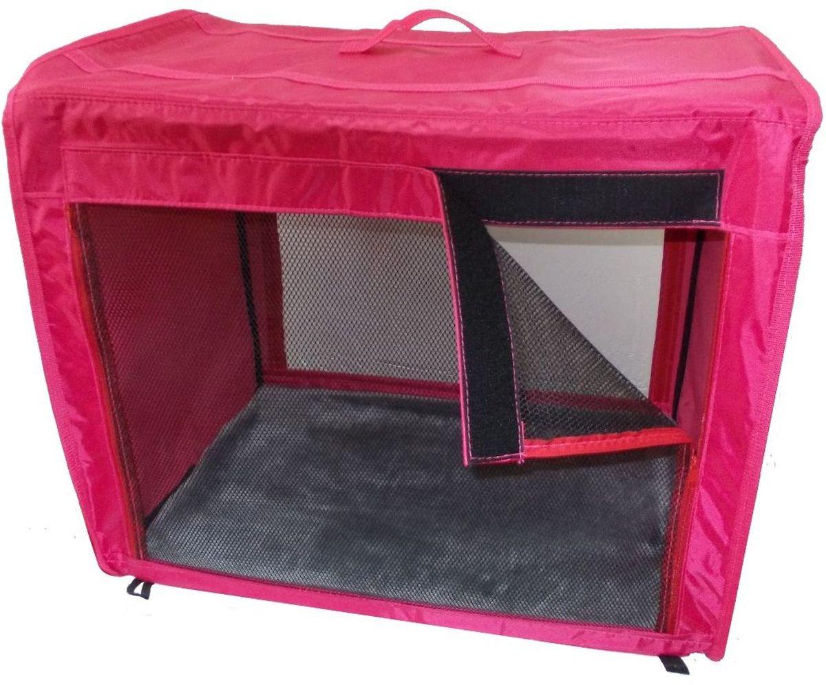 Клетка для животных Заря-Плюс, выставочная, цвет: малиновый, 75 х 60 х 50 см. КТВ2 палатка greenell виржиния 6 плюс green