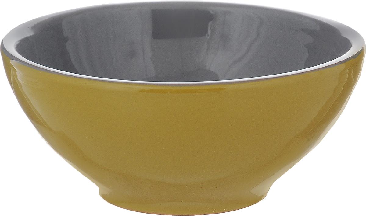 Розетка для варенья Борисовская керамика Радуга, цвет: горчичный, серый, 200 мл розетка для варенья борисовская керамика радуга цвет голубой 200 мл
