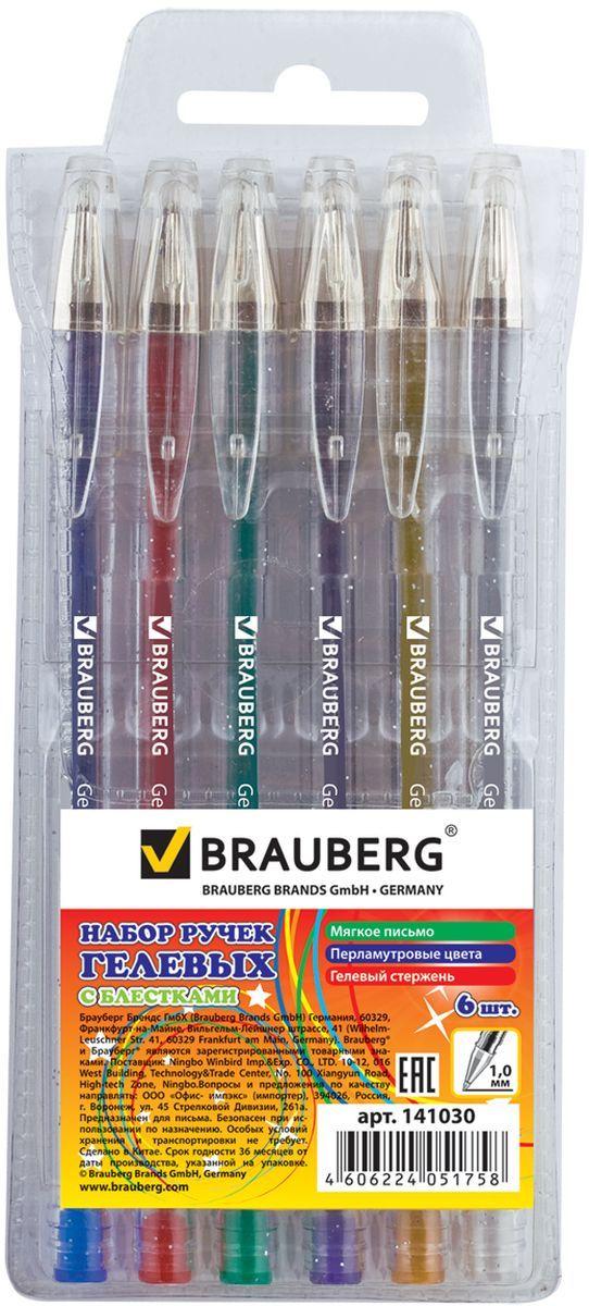BraubergНабор гелевых ручек Jet с блестками 6 шт 141030 Brauberg