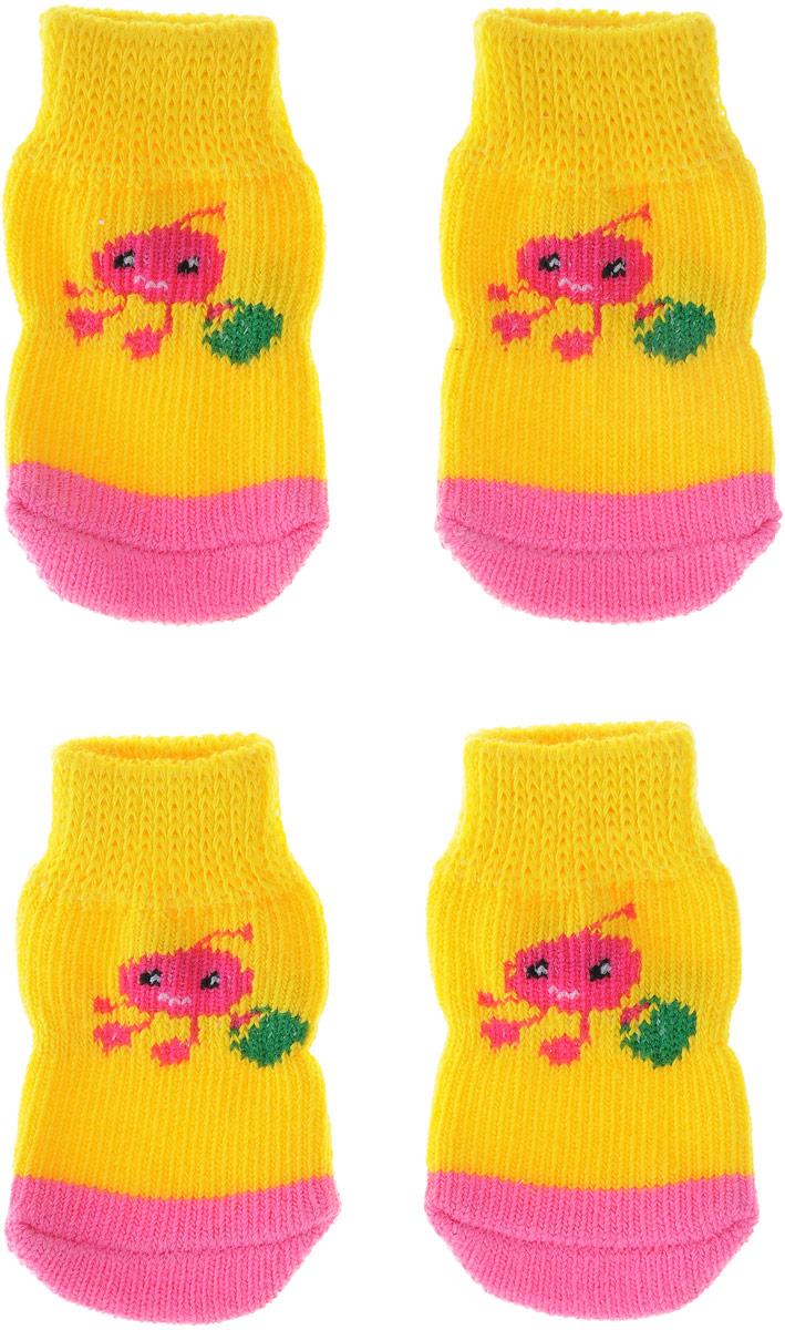 "Носки для собак ""Каскад"", цвет: желтый, розовый, 4 шт. Размер S"