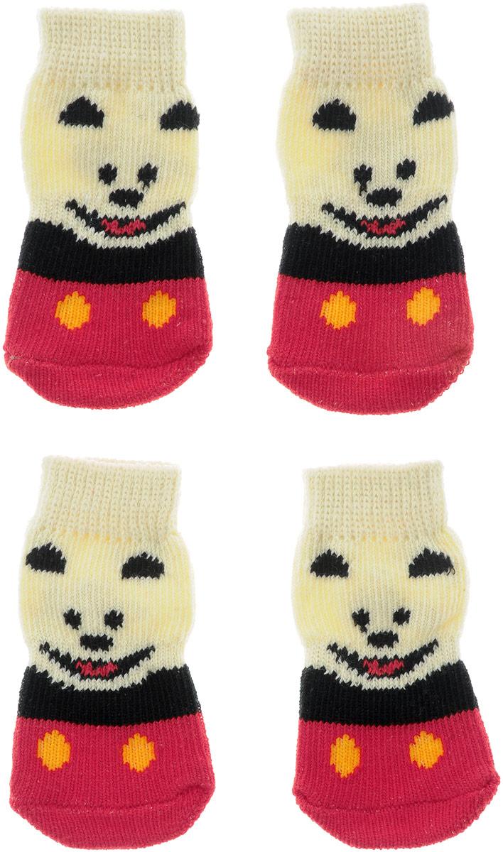 """Носки для собак """"Каскад"""", цвет: красный, черный, бежевый, 4 шт. Размер M"""