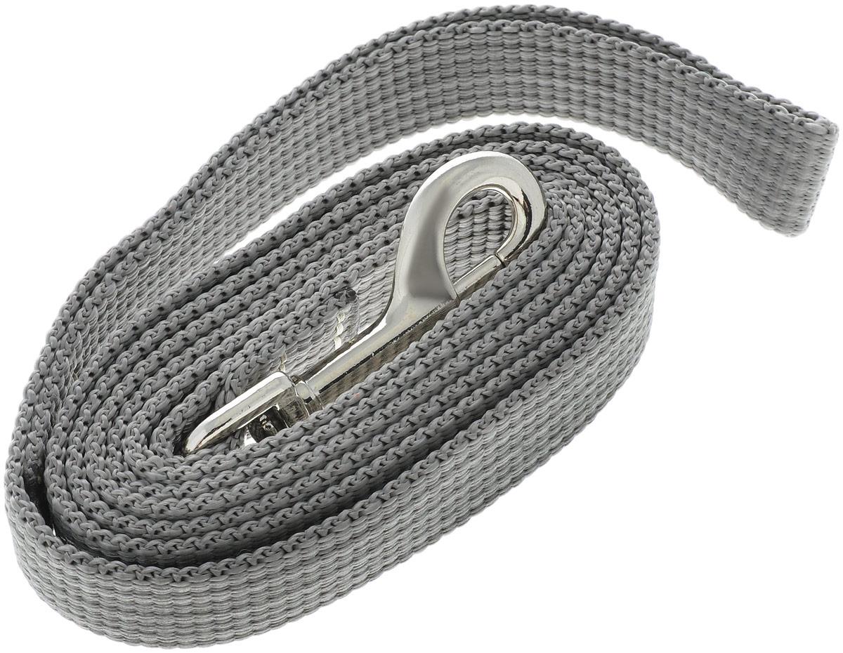 Поводок капроновый для собак Аркон, цвет: серый, ширина 2 см, длина 1,5 м поводок капроновый для собак аркон цвет розовый ширина 2 см длина 5 м