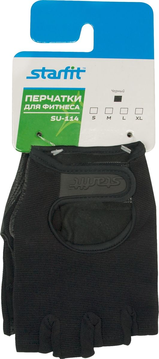 Перчатки для фитнеса Starfit SU-114, цвет: черный. Размер M цена