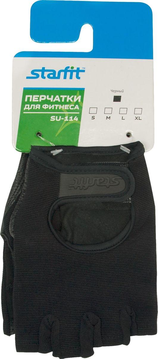 Перчатки для фитнеса Starfit SU-114, цвет: черный. Размер S цена