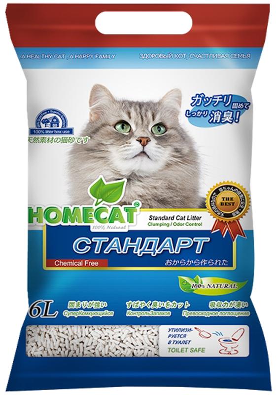 """Наполнитель для кошачьего туалета Homecat """"Эколайн. Стандарт"""", комкующийся, 6 л"""