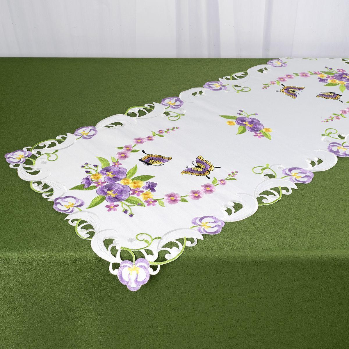 Дорожка для декорирования стола Schaefer, 40 x 85 см, цвет: белый, фиолетовый. 07745-271 скатерть schaefer квадратная цвет бежевый золотистый 85 x 85 см 07486 100