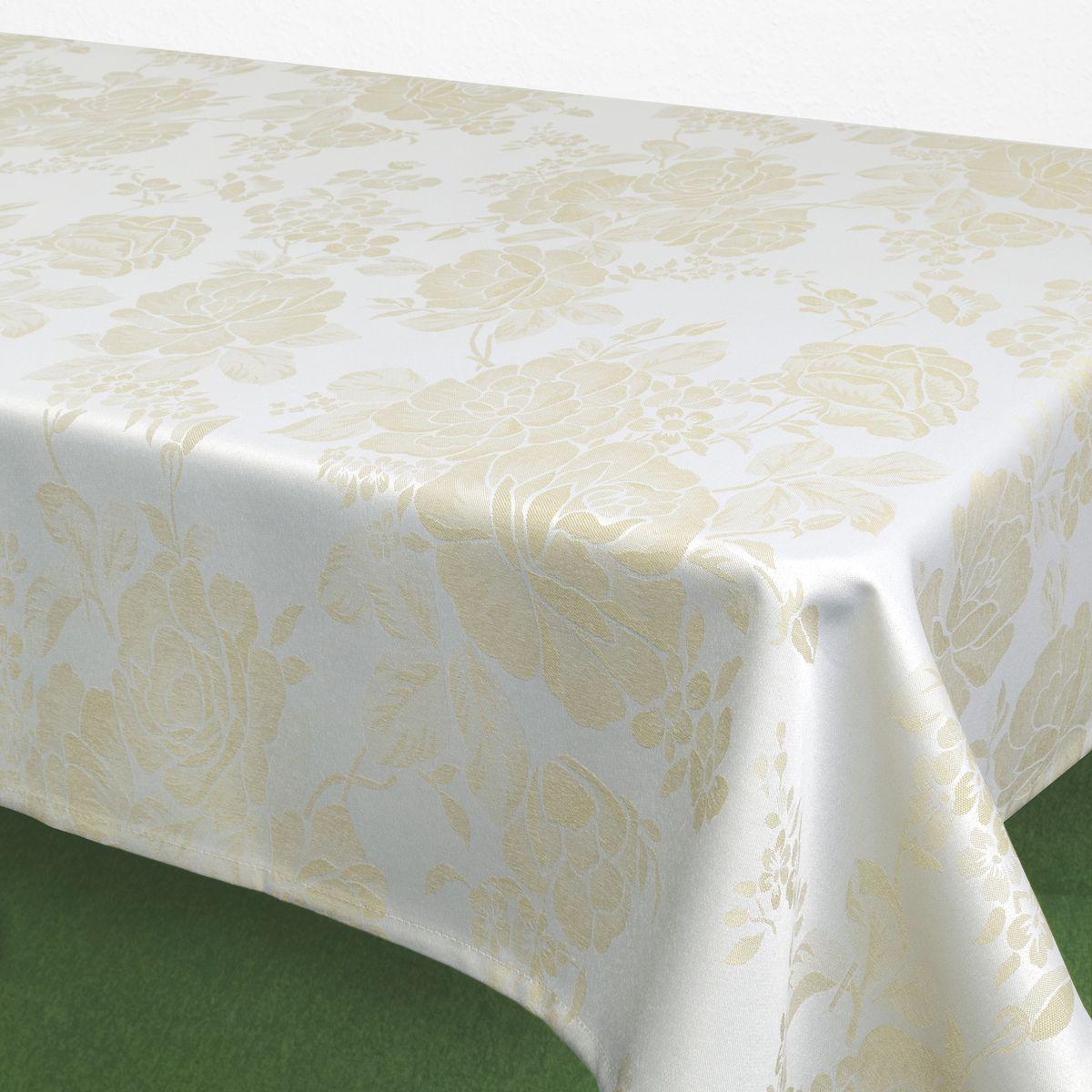 """Скатерть """"Schaefer"""", прямоугольная, цвет: белый, кремовый, 160 х 220 см. 07837-408"""