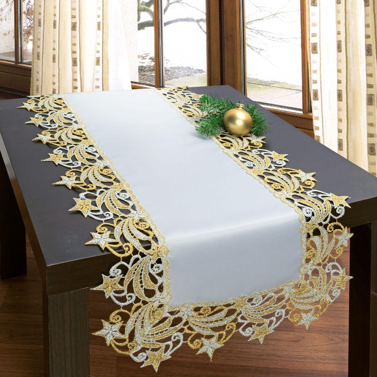 Дорожка для декорирования стола Schaefer, 40 х 100 см, цвет: белый, бежевый. 3076 hercules брашинг 40 мм светлое дерево