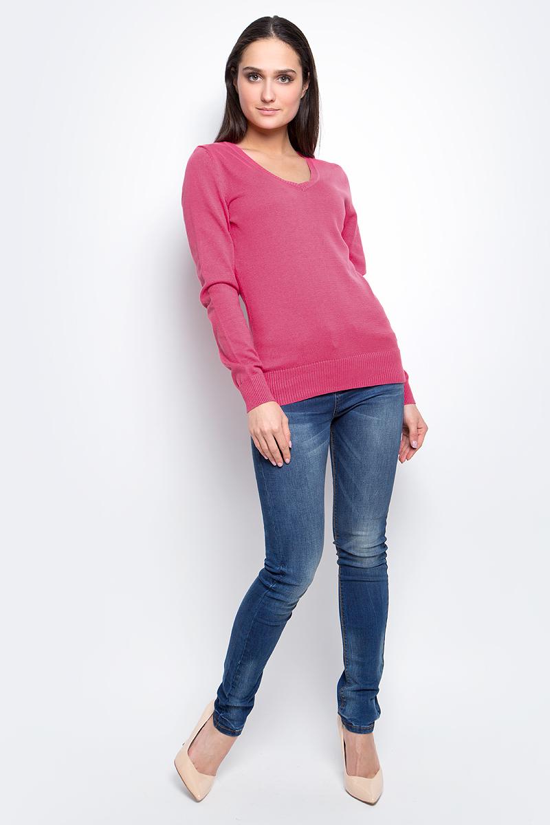 Пуловер женский Baon, цвет: розовый. B137201. Размер L (48)B137201_ValentineЭлегантный женский пуловер Baon выполнен из натурального хлопка. Модель с V- образным вырезом горловины и длинными рукавами. Низ и манжеты изделия выполнены мелкой резинкой.