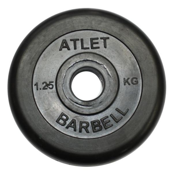 Диск обрезиненный MB Barbell Atlet 26 мм, черный 1,25 кг гиря mb barbell 16 кг