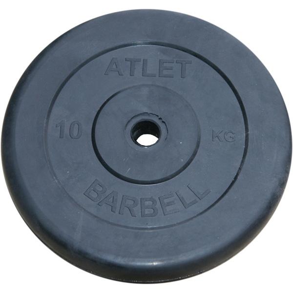 цена на Диск обрезиненный MB Barbell Atlet 26 мм, черный 10 кг