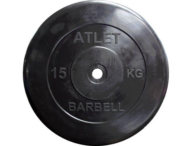 Диск обрезиненный MB Barbell Atlet 26 мм, черный 15 кг диск обрезиненный d51мм mb barbell atlet 25кг черный