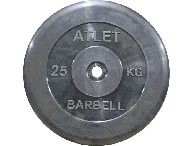 Диск обрезиненный MB Barbell Atlet 26 мм, черный 25 кг гиря mb barbell 16 кг