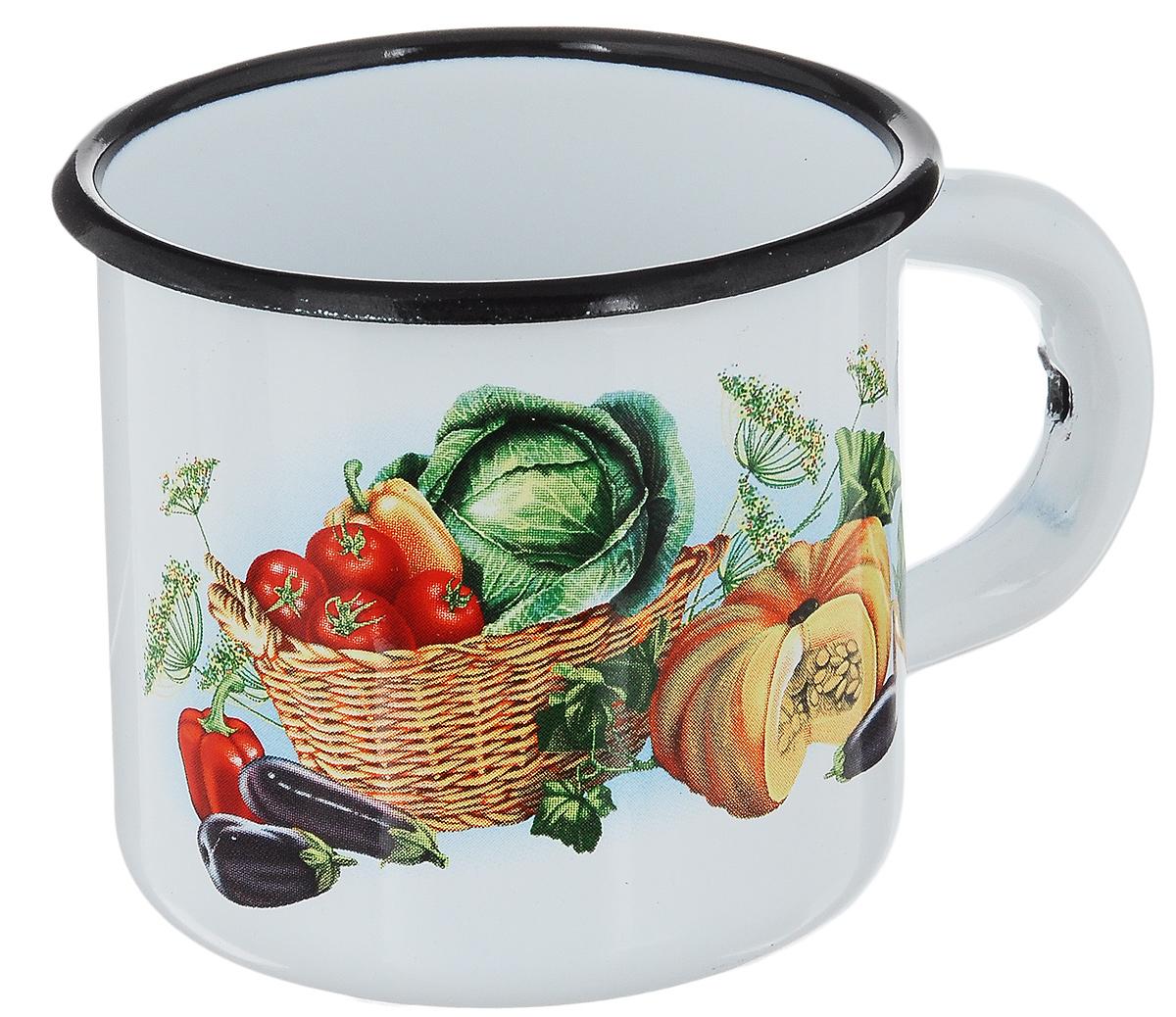 Кружка эмалированная СтальЭмаль Овощи, 250 мл кружка стальэмаль 1 л с рисунком