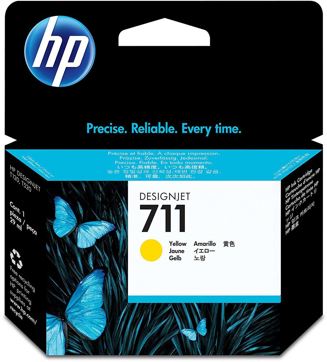 Картридж HP 711, желтый, для струйного принтера, оригинал