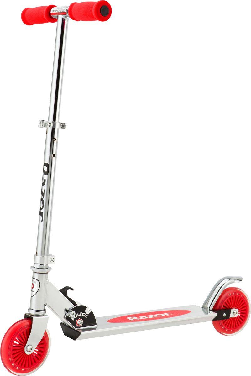 Самокат детский Razor A125, двухколесный, складной, цвет: красный, стальной двухколесные самокаты razor a125 gs german standart