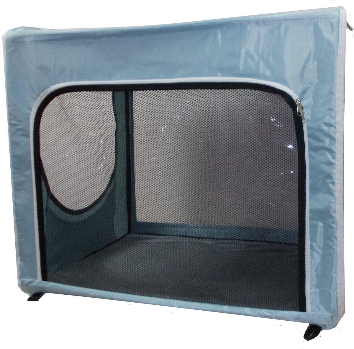 """Клетка для животных """"Заря-Плюс"""", выставочная, цвет: голубой, черный, прозрачный, 75 х 60 х 50 см"""