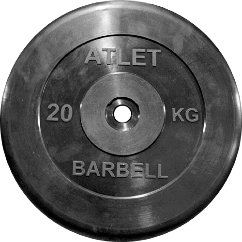 Диск обрезиненный MB Barbell Atlet 26 мм, черный 20 кг диск обрезиненный d51мм mb barbell atlet 25кг черный