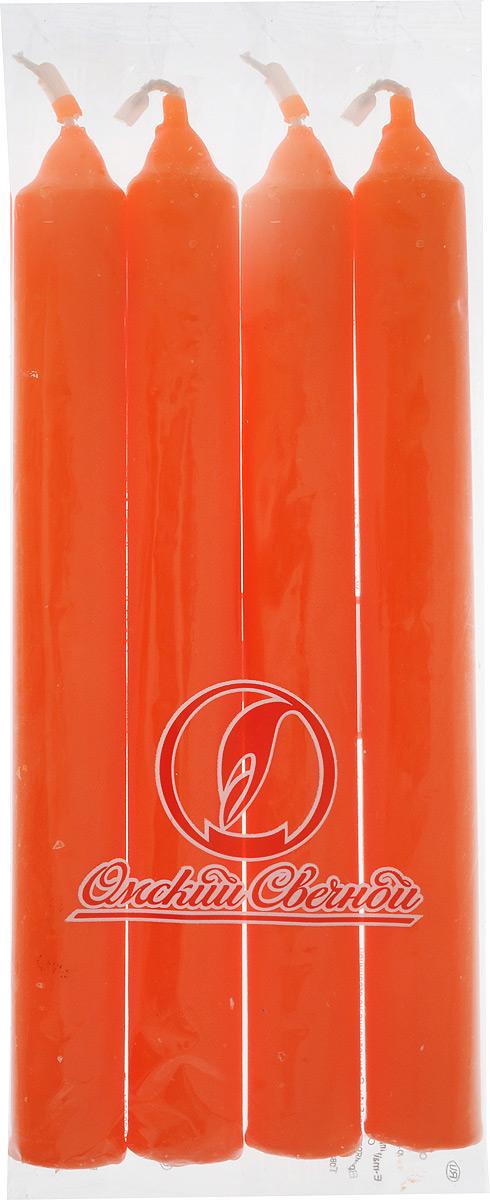 Набор свечей Омский cвечной завод, цвет: оранжевый, высота 17,5 см, 4 шт владимир иким митрополит омский и таврический вечное сокровище свет преображения