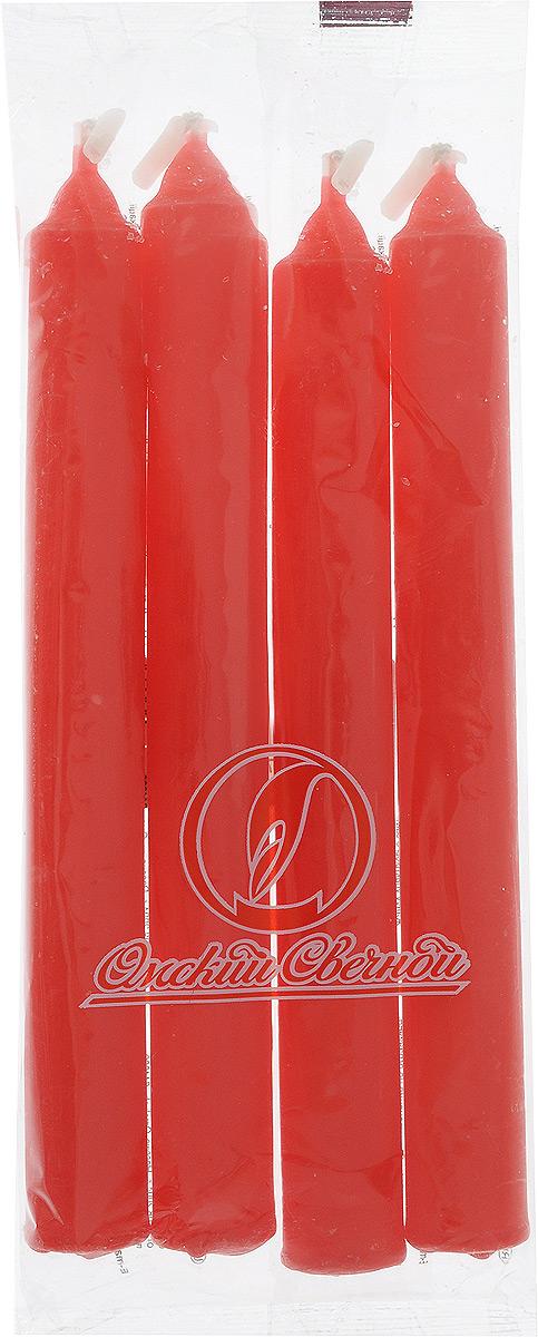 Набор свечей Омский cвечной завод, цвет: красный, высота 17,5 см, 4 шт омский завод электротоваров 5 ом 48302
