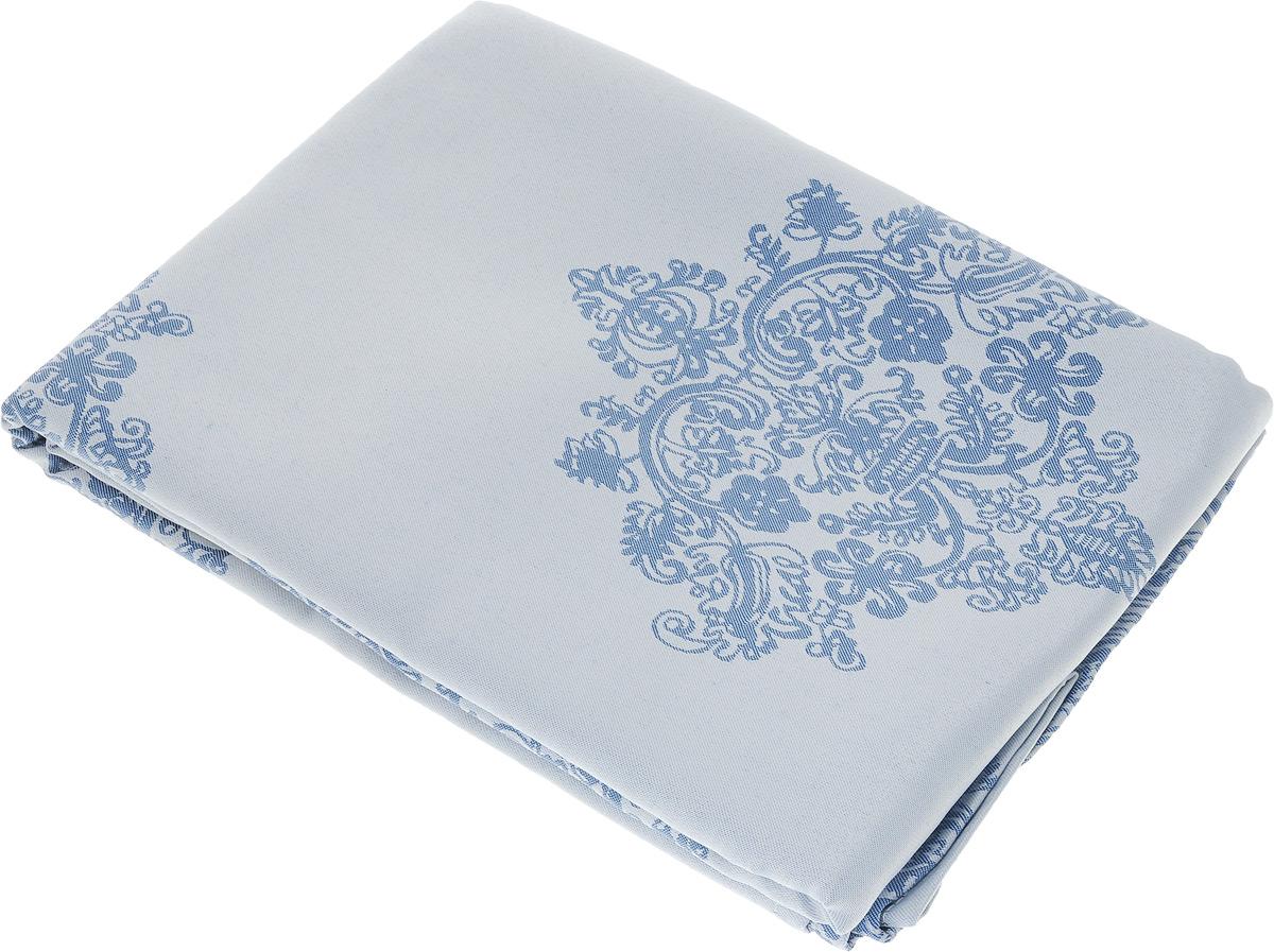 """Скатерть """"Schaefer"""", прямоугольная, цвет: серебристо-голубой, синий, 160 х 220 см. 07811-408"""