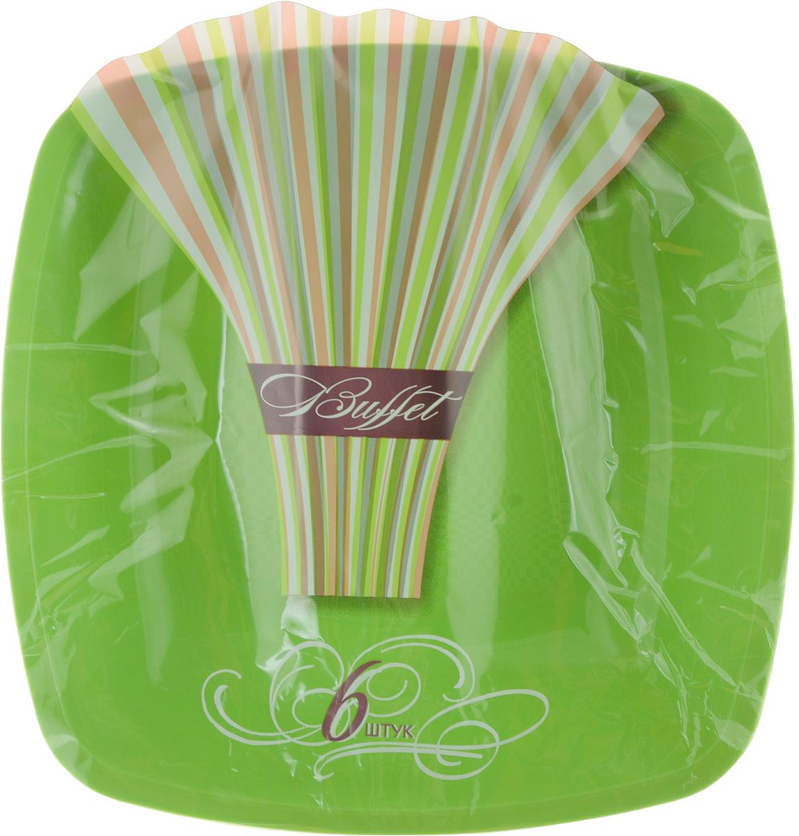 Набор одноразовых тарелок Buffet, цвет: зеленый, 18 х 18 см, 6 шт набор одноразовых стаканов buffet biсolor цвет оранжевый желтый 200 мл 6 шт