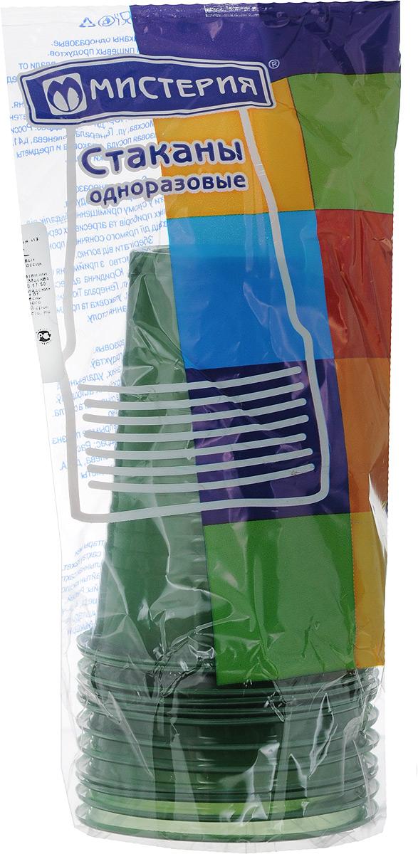 Набор одноразовых стаканов Мистерия, цвет: зеленый, 200 мл, 12 шт набор одноразовых стаканов buffet biсolor цвет оранжевый желтый 200 мл 6 шт