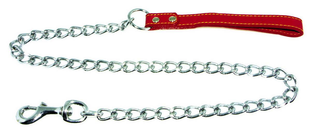 Поводок-цепь для собак Dezzie, цвет: красный, серебристый, толщина 4 мм, длина 120 см5601019Поводок-цепь для собак Dezzie - это удобная и качественная амуниция из хромированной стали и натуральной кожи. Поводок прост в использовании. Он поможет удерживать энергичного питомца во время прогулки, не навредив при этом его здоровью. Изделие пристегивается к ошейнику с помощью встроенного карабина. Такой поводок смотрится элегантно, идеально подходит для дрессировки и создан так, чтобы не причинить питомцам дискомфорта.Длина поводка: 120 см.Толщина цепи: 4 мм.