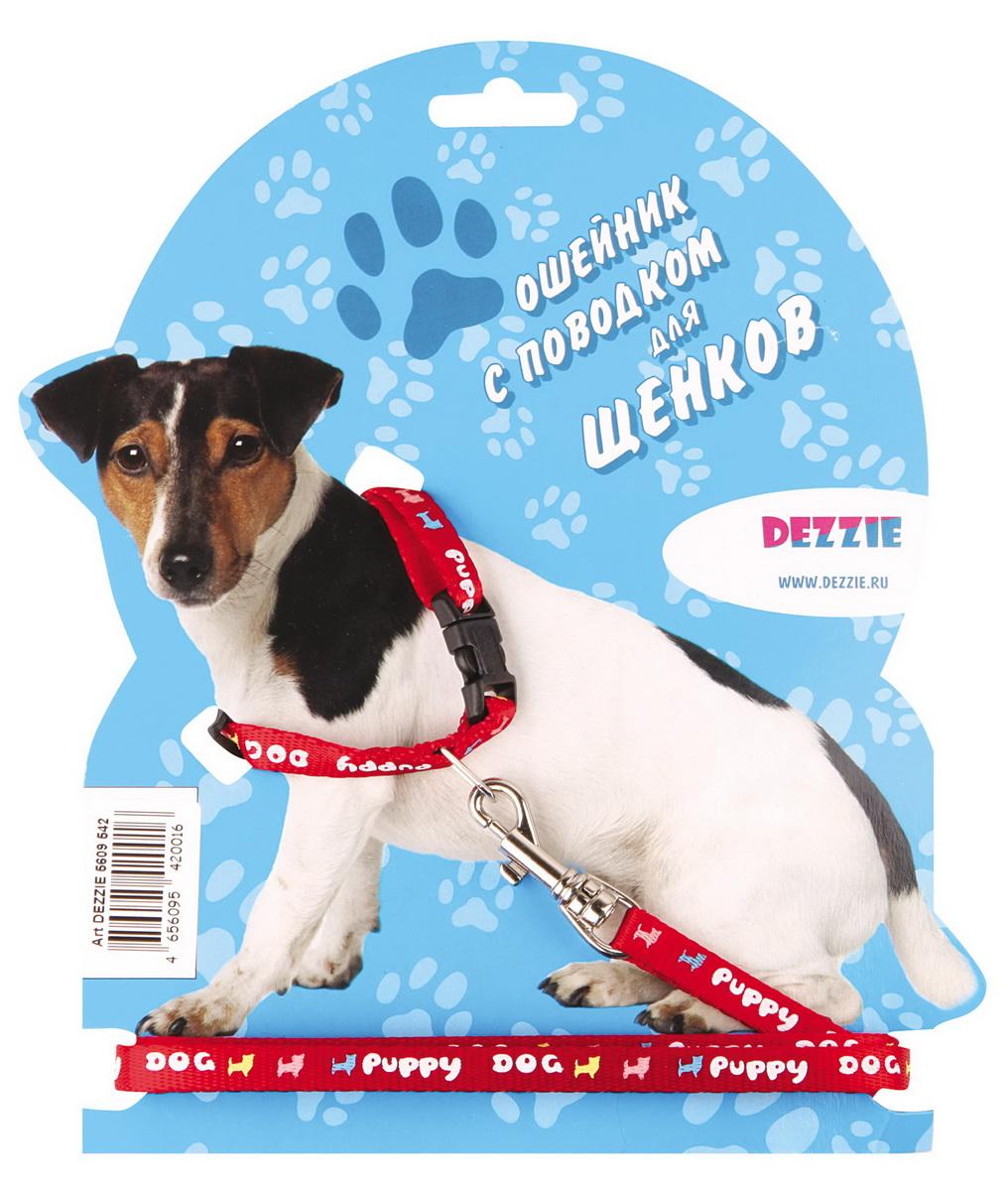 """Комплект для щенков """"Dezzie"""": ошейник, поводок, цвет: красный"""