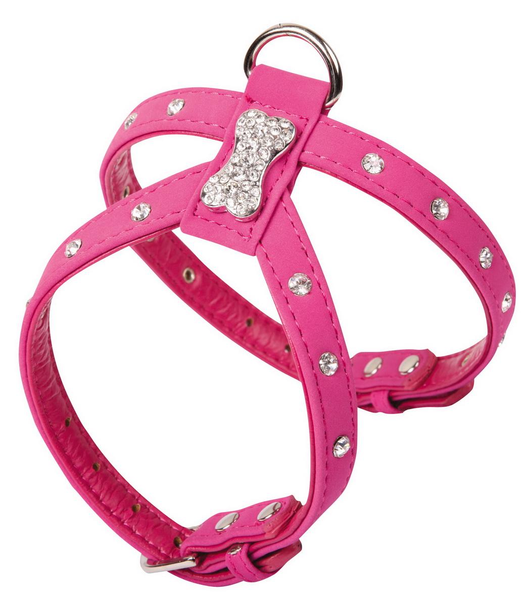 """Шлейка для собак """"Dezzie"""", цвет: розовый, обхват шеи 20-26 см, обхват груди 28-34 см. Размер M. 5624079"""